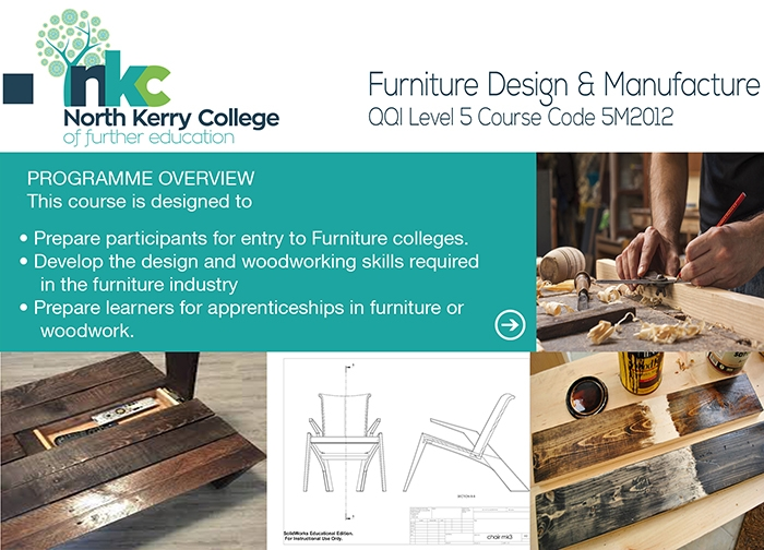 Enrol Now For Our New Course Furniture Design And Manufacture