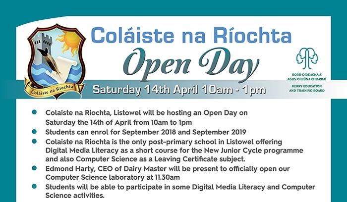 Open Day Saturday 14th April - 10AM - 1PM