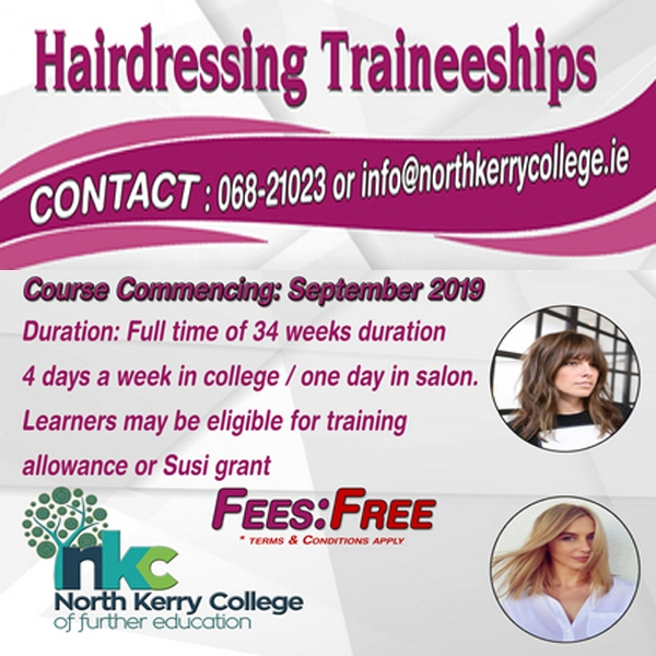 New Hairdressing Traineeship Course September 2019 - NO FEES