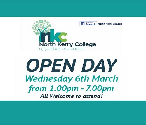 North Kerry College Open Day Wednesday 6th March 1-7pm