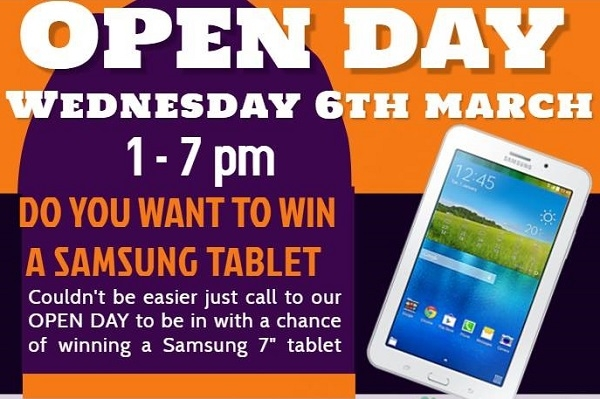 CALL TO OUR OPEN DAY ON WEDNESDAY 6th MARCH TO BE IN WITH A CHANCE OF WINNING A TABLET