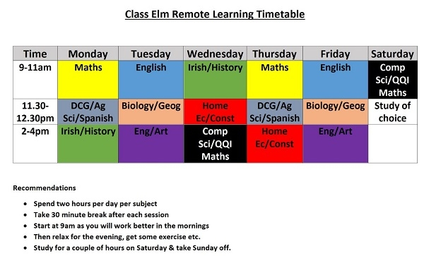 New students study timetable