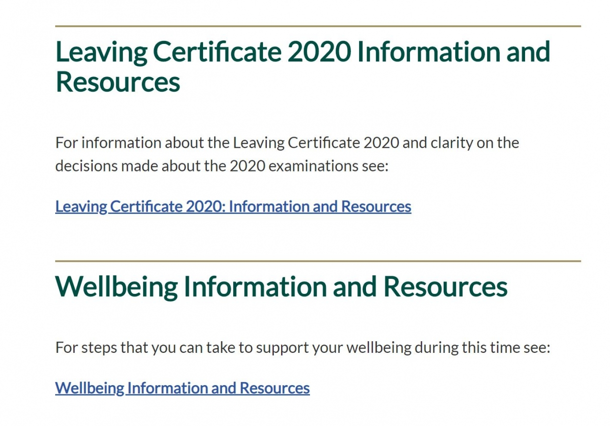 LC student information & resources from the Dept of Eucucation and Skills
