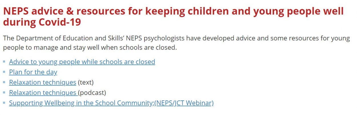 NEPS advice & resources for keeping children and young people well during Covid-19