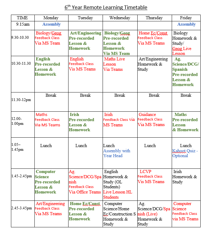 Updated Remote Learning Class Timetables
