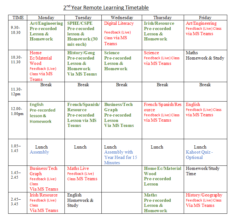March Updated Remote Learning Timetables